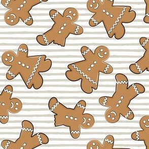 gingerbread man cookie toss on beige stripes