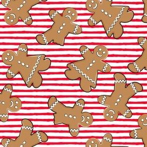 gingerbread man cookie toss on red stripes