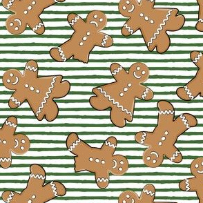 gingerbread man cookie toss on green stripes