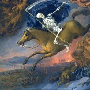 skeletons death grim reaper scythe horses chasing hell devils monsters demons battles wars swords animals crocodiles lions snakes skulls chasing eerie macabre spooky bizarre morbid gothic horror