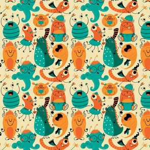 Halloween monster pattern