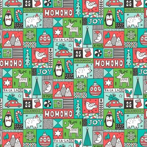 Christmas Patchwork Red Green Mint 50% Smaller