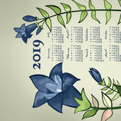 2019 Calendar, Sunday / Gentian