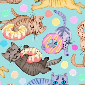 Sprinkles on Donuts and Whiskers on Kittens light blue background - large
