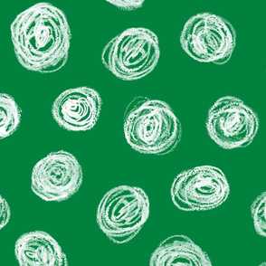 jumbo chalk pastel scribble dots on Christmas green