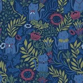 Victorian cats. Botanical florals.