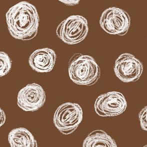 jumbo chalk pastel scribble dots on brown