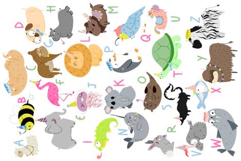 Animal Alphabet fabric by how-store on Spoonflower - custom fabric