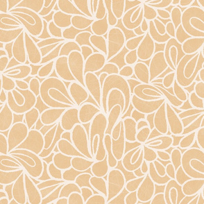 Retro 1960s  flowers in beige