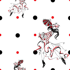Girl dancing flamenco. Seamless pattern. Gypsy. Polka dot background. White.