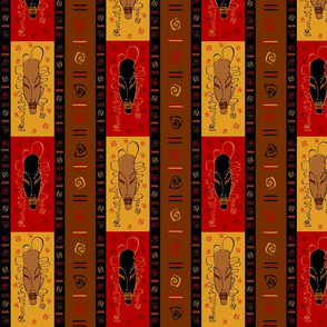 Seamless pattern with tribal African masks. Ethnic ornament.