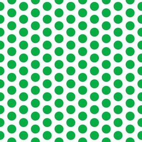 Medium Green Dot on White  FS Grass Polka Dot