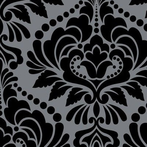 Silver and Black Damask Large