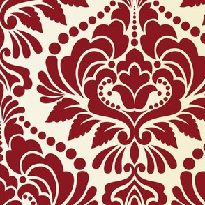Cranberry and Ecru Damask Large