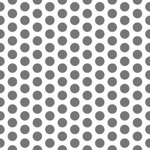 Medium Grey Dot on White FS Steel Polka Dot