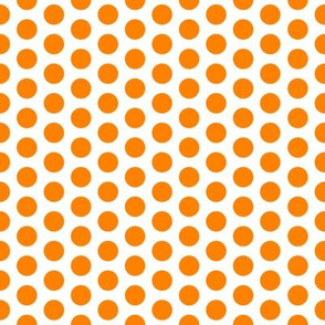 Medium Orange Dot on White FS Carrot Polka Dot