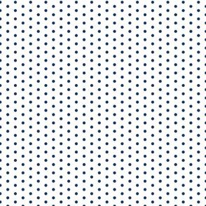 Small Navy Dot on White FS Admiral Navy Blue Polka Dot