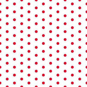Red Polka Dots on White FS Cherry Red Dots