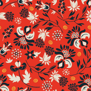 victorian floral | red