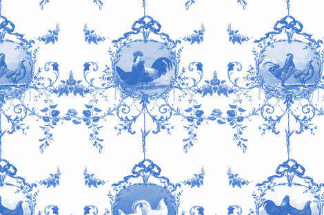 Le Toile de Poulet blueberry fabric by lilyoake on Spoonflower - custom fabric
