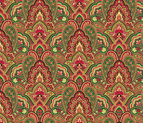 Christmas Paisley Damask fabric by barbarapixton on Spoonflower - custom fabric