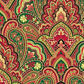 Christmas Paisley Damask