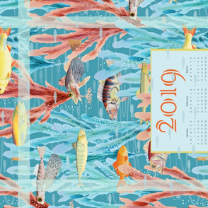 2019 Tea Towel Calendar Ocean Dreams