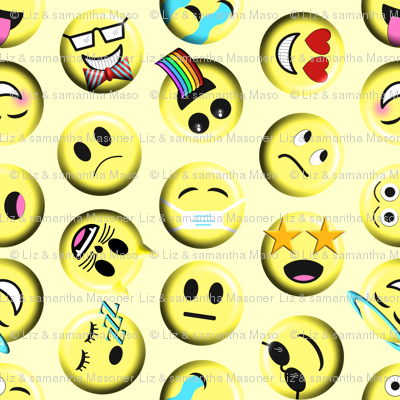 Emojis on yellow without poop emoji