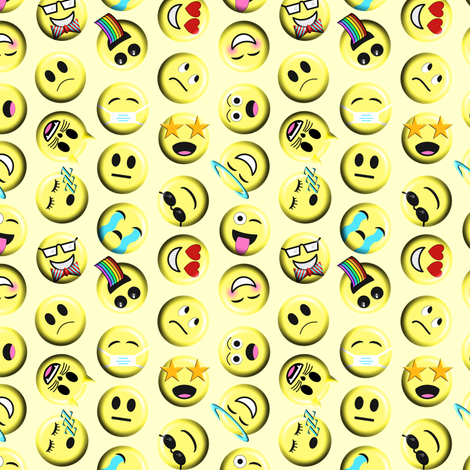 Emojis on yellow without poop emoji fabric by themadcraftduckie on Spoonflower - custom fabric
