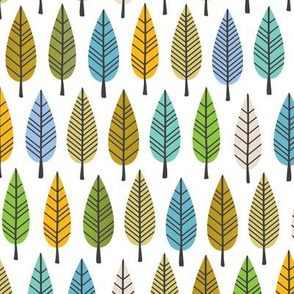Colorful trees autumn winter forest abstract leaves retro botanical style gender neutral