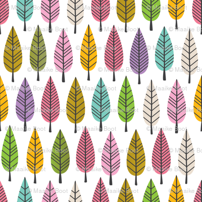 Colorful trees autumn forest abstract leaves retro botanical style girls