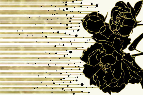 Gold, white and black Peony  fabric by new_branch_studio on Spoonflower - custom fabric