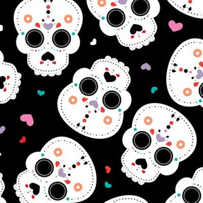 Mexican sugar skulls dia de los muertos skull halloween kids girls LARGE