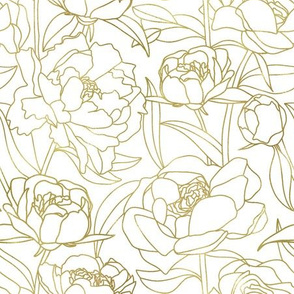 Gold Peonies on white