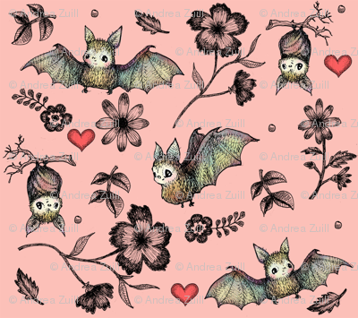 Bats and Hearts with Pink Background