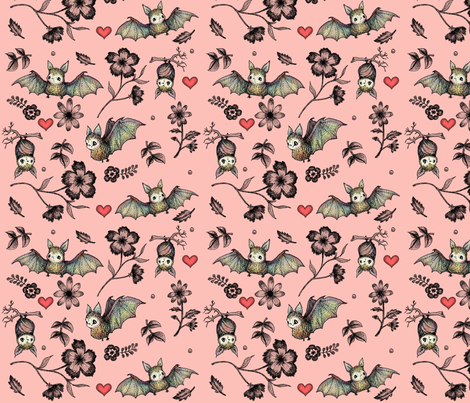 Bats and Hearts with Pink Background fabric by andrea_zuill on Spoonflower - custom fabric