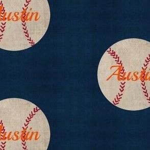 baseball vintage navy orange text- Large 467PB PERSONALIZED Austin