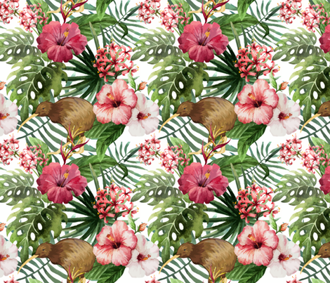 Sunny: Tropical Hibiscus Kiwi Bird  fabric by khaus on Spoonflower - custom fabric