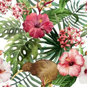Sunny: Tropical Hibiscus Kiwi Bird