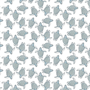 Blue & Gray Sea Turtles on White