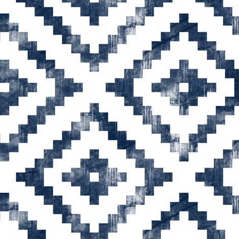 aztec distressed (navy) C18BS fabric by littlearrowdesign on Spoonflower - custom fabric