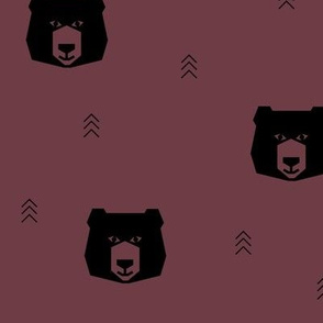 Bear head - burgundy geometric bear head