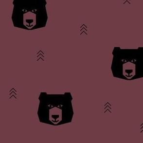 Bear head - burgundy geometric bear head