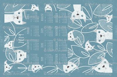 Peeking Cats 2019 calendar tea towel