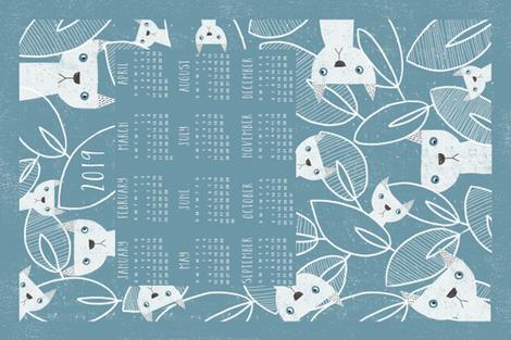 Peeking Cats 2019 calendar tea towel fabric by melarmstrongdesign on Spoonflower - custom fabric