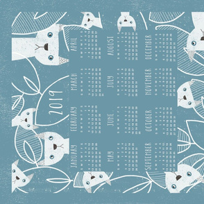 Peeking Cats 2019 calendar tea towel