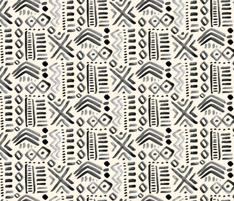 Mudcloth Black Abstract Tribal  Cream Gray _ Miss Chiff Designs Ethnic  fabric by misschiffdesigns on Spoonflower - custom fabric