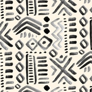 Mudcloth Black Abstract Tribal  Cream Gray _ Miss Chiff Designs Ethnic