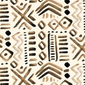 Mudcloth Brown Tan Cream Abstract Tribal  Ethnic Chocolate  Beige _ Miss Chiff Designs