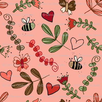 Bees & Butterflies - Pink